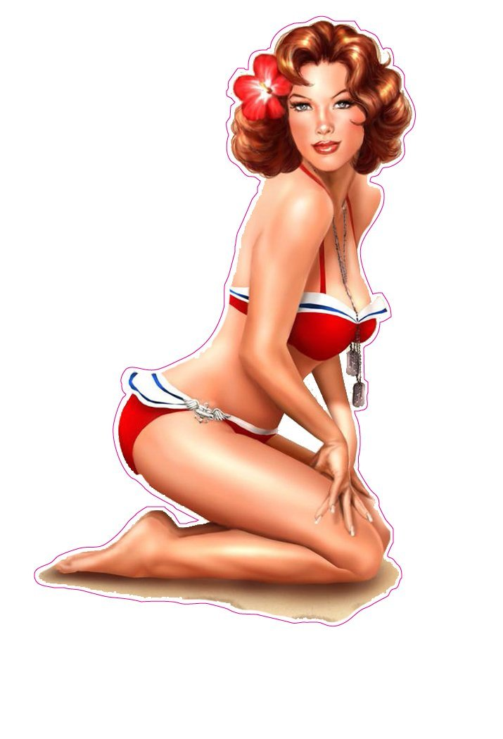 Red Head Red Swim Suit Pin Up Girl Decal Nostaglia