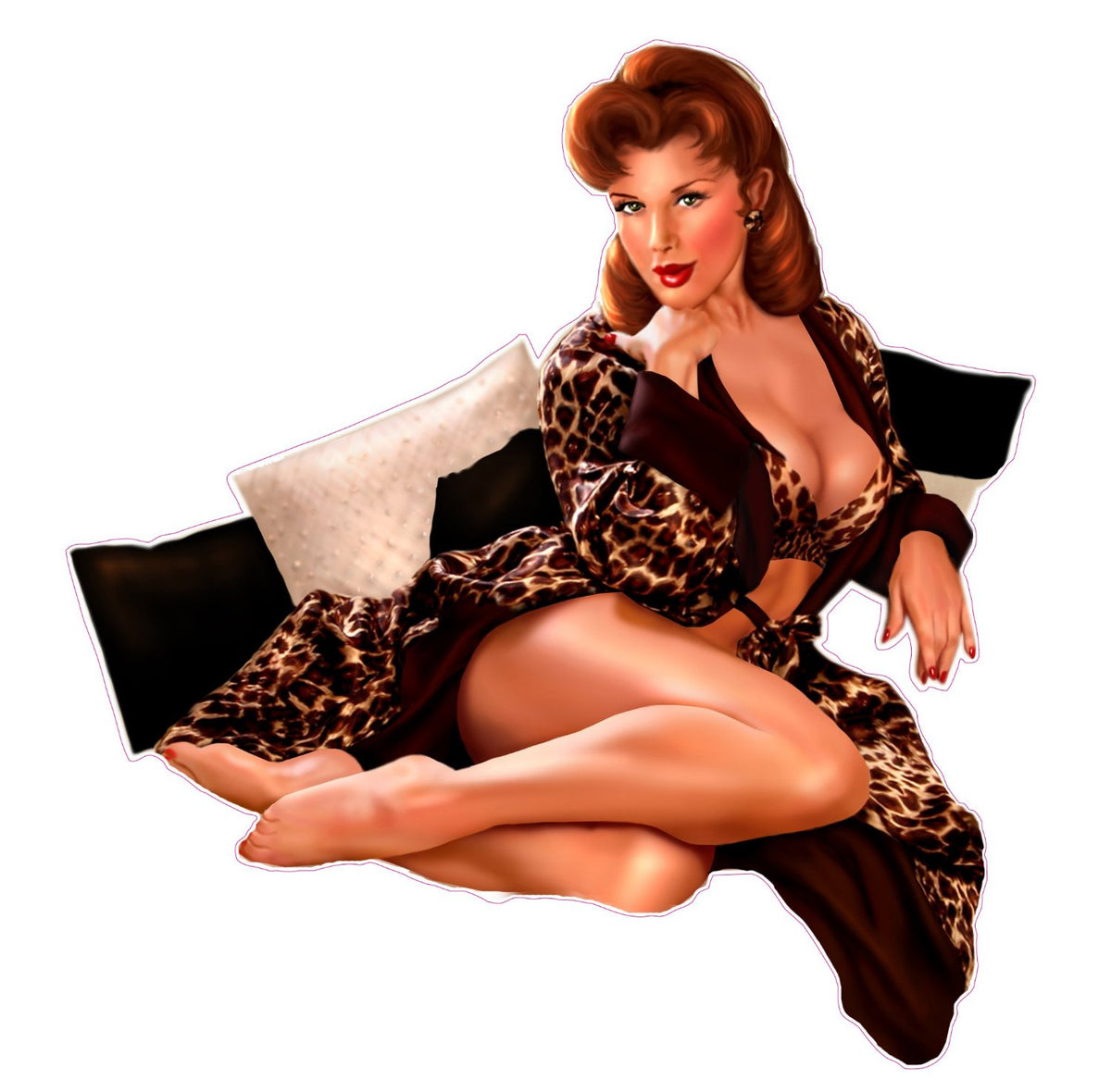 Red Head With Leopard Outfit Pin Up Girl Decal Nostaglia