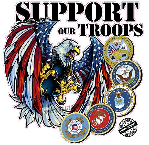 Screaming American Flag Bald Eagle Support Our Troops Version 2 Decal  | Nostalgia Decals Online military window stickers for cars and trucks, army vinyl decals for cars, marine corps vinyl stickers, die cut vinyl support our troops decals
