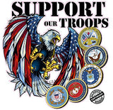 Screaming American Flag Bald Eagle Support Our Troops Version 2 Decal - 6"
