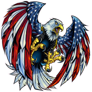 Screaming American Flag Bald Eagle Wings with UV Laminate