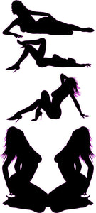 Sexy Black Silhouette Girls Decal - | Nostalgia Decals Online trucker window decals, vinyl graphics for semi trucks, vinyl tractor stickers
