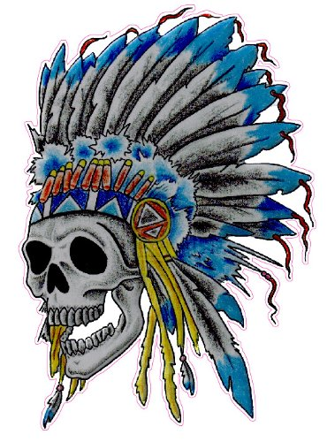Skeleton Native American Head Dress Decal - | Nostalgia Decals Online retro car decals, old school vinyl stickers for cars, racing graphics for cars, car decals for girls