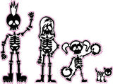 Skeleton Stick Family Mom Dad Daughter and Dog Decal - | Nostalgia Decals Online cute stick figure family stickers, car window stick family, stick figure family decals