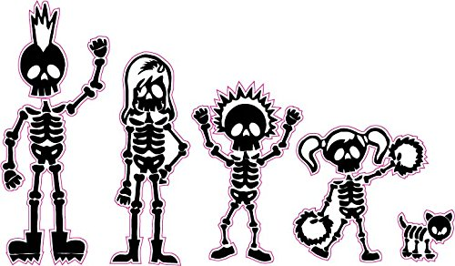 Skeleton Stick Family Mom Dad Son and Daughter Dog Decal - | Nostalgia Decals Online cute stick figure family stickers, car window stick family, stick figure family decals