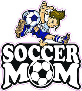 Soccer Mom Dark Hair Girl Decal - | Nostalgia Decals Online retro car decals, old school vinyl stickers for cars, racing graphics for cars, car decals for girls