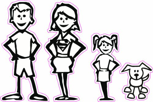 Stick Family Mom and Dad Daughter and Dog Decal - | Nostalgia Decals Online cute stick figure family stickers, car window stick family, stick figure family decals