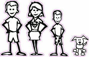 Stick Family Mom and Dad Son and Dog Decal - | Nostalgia Decals Online cute stick figure family stickers, car window stick family, stick figure family decals