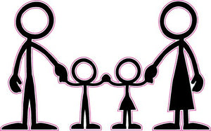 Stick Family Mom Dad Son and Daughter Decal - | Nostalgia Decals Online cute stick figure family stickers, car window stick family, stick figure family decals