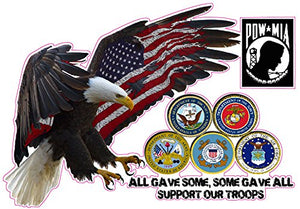 "Support Our Troops All Gave Some, Some Gave All Decal - 6"" x 4"" 
