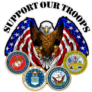 "Support Our Troops Decal - 36""x 36"" 