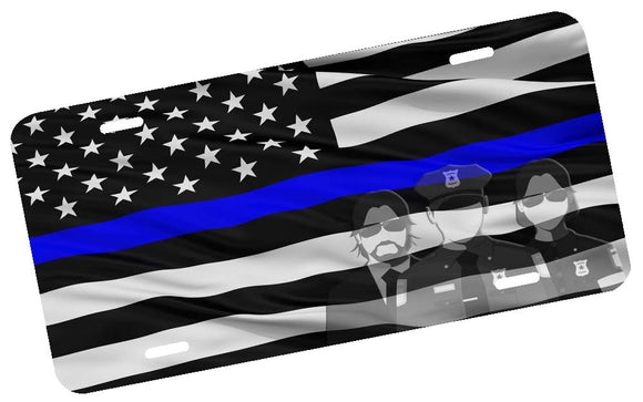 Thin Blue Line Waving American Flag License Plate