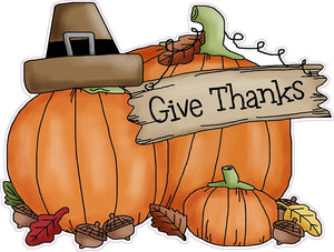 "Thanksgiving Giving Thanks Wall or Window Decor Decal 24"" - 