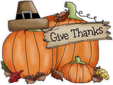 "Thanksgiving Giving Thanks Wall or Window Decor Decal 12"" - 