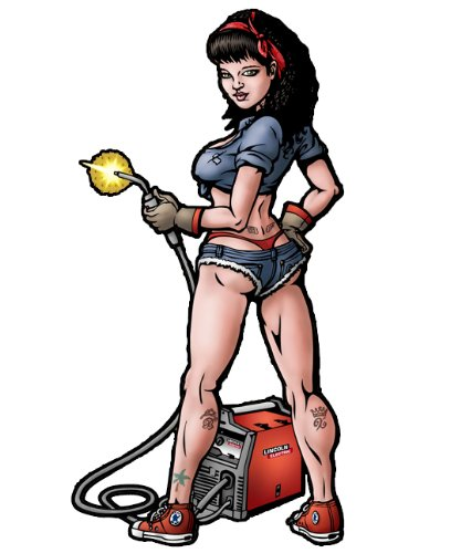 Tom Boy Welding Pinup Girl Decal - | Nostalgia Decals Online pinup girl decals, vinyl pin up girl stickers, pin up girl graphics for cars