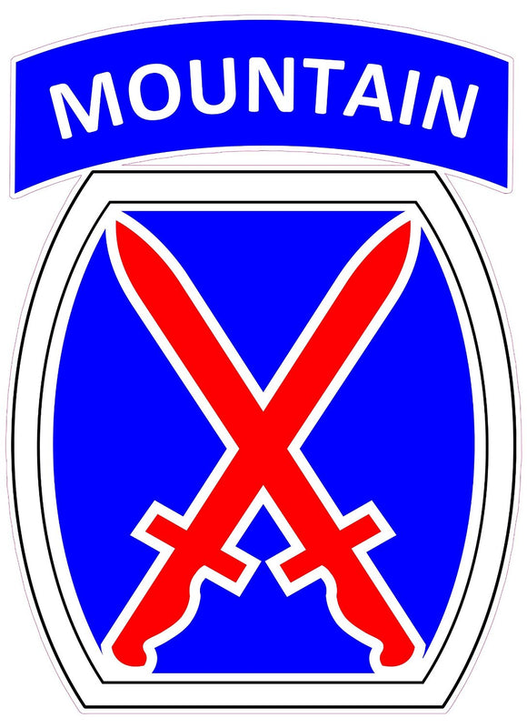 U.S. Army 10th Mountain Division Decal - | Nostalgia Decals Online military window stickers for cars and trucks, army vinyl decals for cars, marine corps vinyl stickers, die cut vinyl navy decals