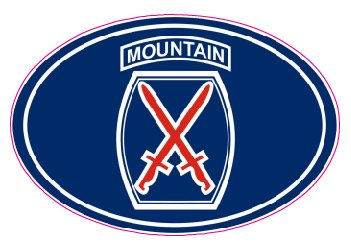 U.S. Army 10th Mountain Division Oval Decal - | Nostalgia Decals Online military window stickers for cars and trucks, army vinyl decals for cars, marine corps vinyl stickers, die cut vinyl navy decals