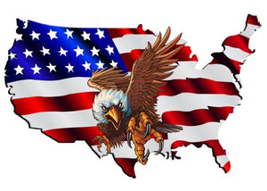 "USA as a Flag with Eagle Decal- 6"" x 4"" 
