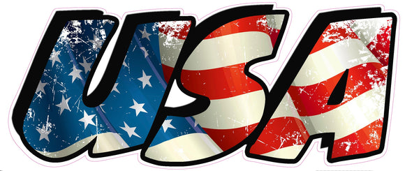 American Flag USA Lettering Magnetic Decal 6