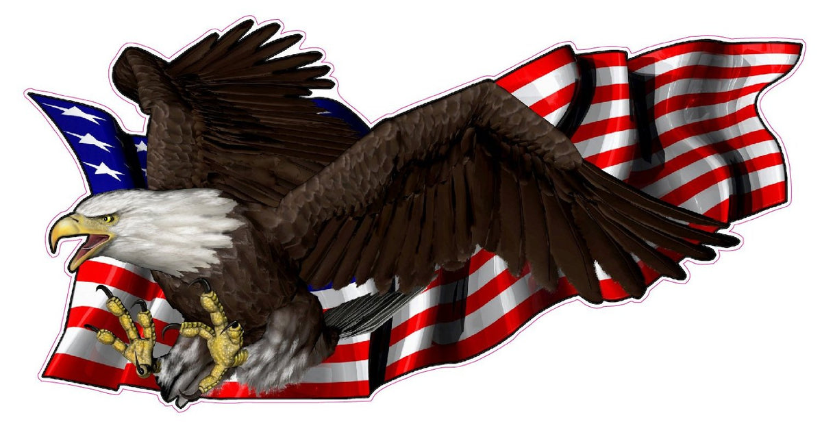 United States Flag With Soaring Eagle Left Decal