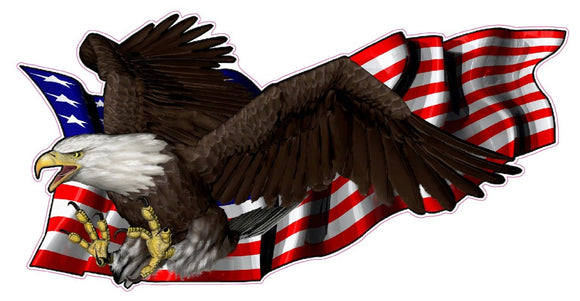 United States Flag with Soaring Eagle Left Decal - | Nostalgia Decals Online military window stickers for cars and trucks, army vinyl decals for cars, marine corps vinyl stickers, die cut vinyl navy decals