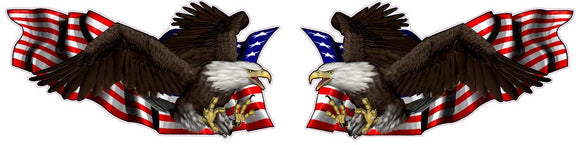 United States Flag with Soaring Eagle Left and Right Decal - 6