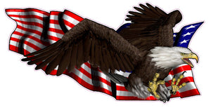 United States Flag with Soaring Eagle Right Decal - | Nostalgia Decals Online military window stickers for cars and trucks, army vinyl decals for cars, marine corps vinyl stickers, die cut vinyl navy decals