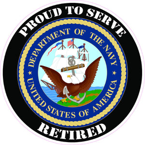 United States Navy Retired Decal - | Nostalgia Decals Online military window stickers for cars and trucks, army vinyl decals for cars, marine corps vinyl stickers, die cut vinyl navy decals