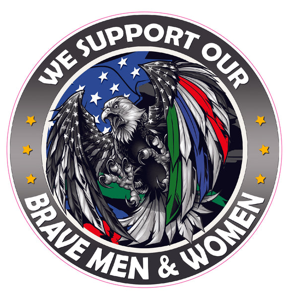 We Support our Thin Green Blue Red Line Military Law enforcement First Responders American Flag Eagle decal