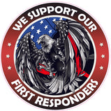 Thin Red Line First Responders American Flag Eagle Decal