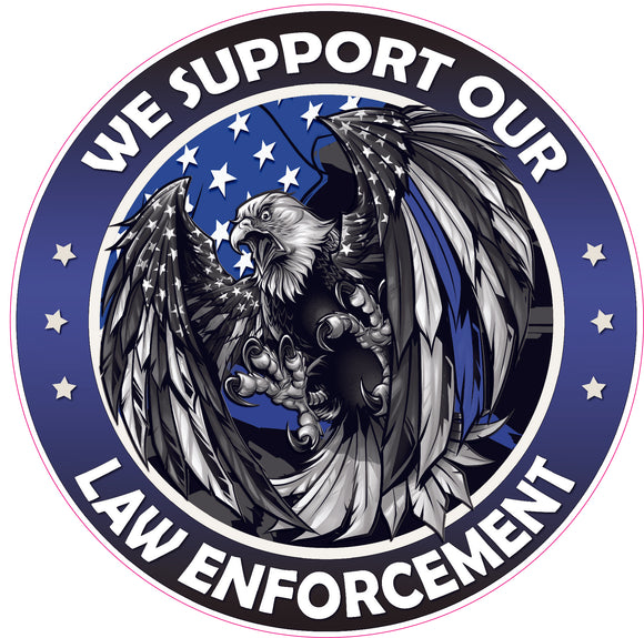 We Support our Thin Blue Line Law Enforcement American Flag Eagle Decal