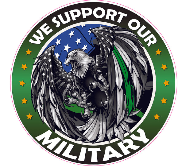 We Support our Thin Green Line Military American Flag Eagle Decal