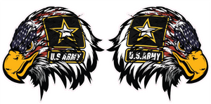 Army American Flag Eagle Head Pair Decal  | Nostalgia Decals Online military window stickers for cars and trucks, army vinyl decals for cars, army vinyl stickers, die cut vinyl ARMY decals
