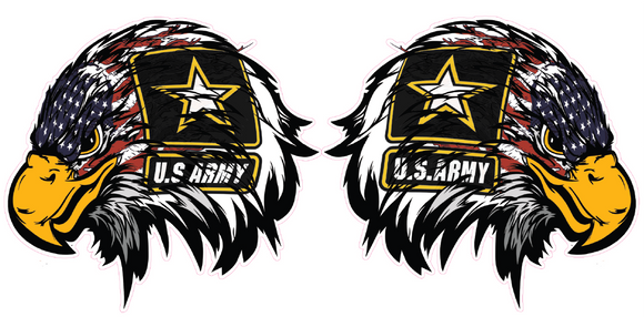 Army American Flag Eagle Head Pair Decal - 5