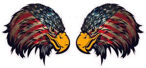 "Weathered American Flag Eagle Head Version 2 Pair 4"" Decal- 