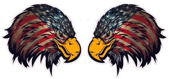 Weathered American Flag Eagle Head Version 2 Pair 4