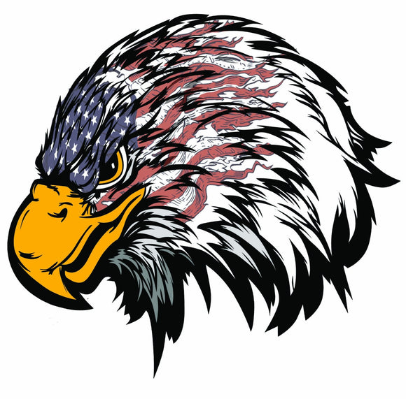 Weathered American Flag Eagle Head Decal- 5