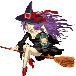 Halloween Witch with Lantern Wall Decor Decal