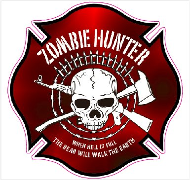Zombie Hunters Decal - | Nostalgia Decals Online retro car decals, old school vinyl stickers for cars, racing graphics for cars, car decals for girls