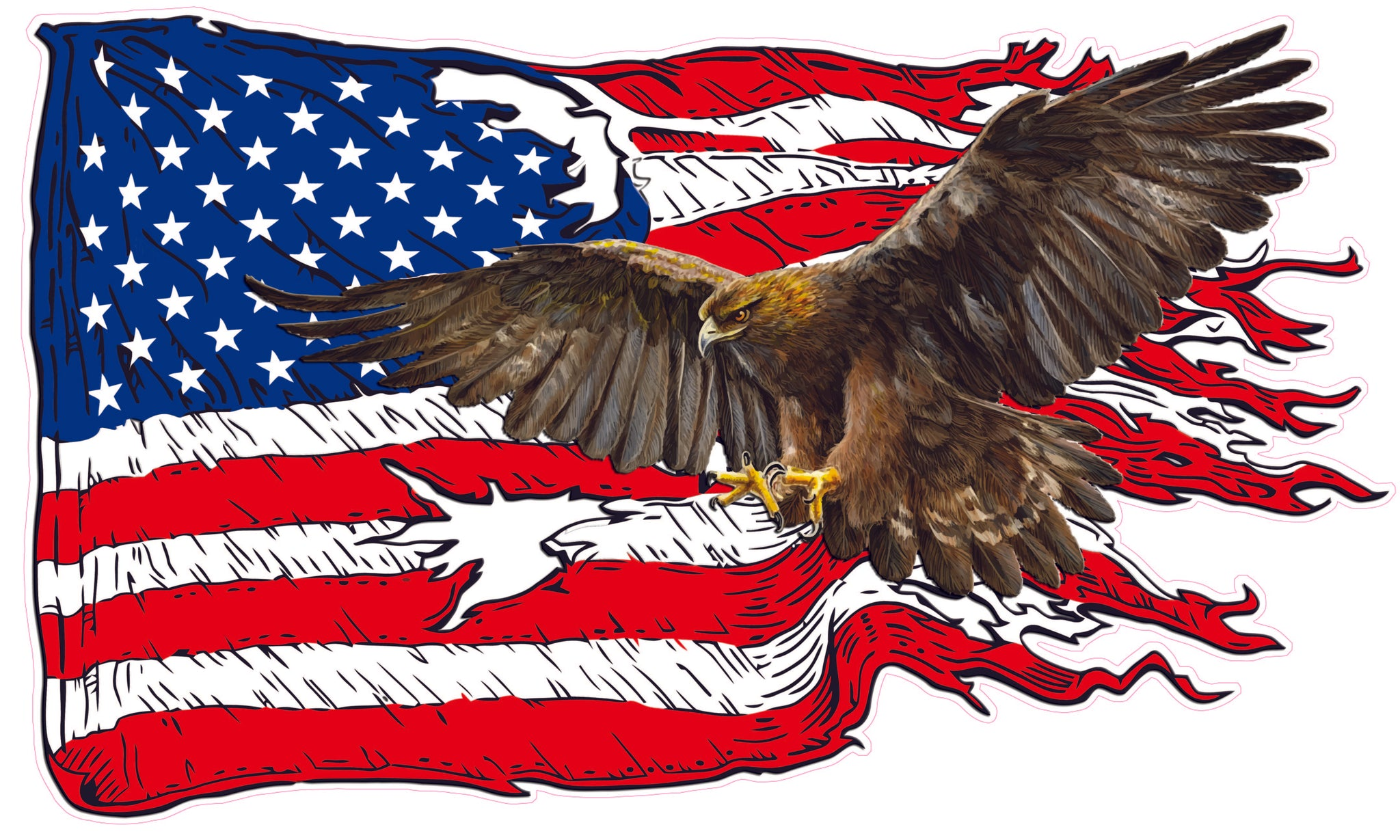 American Flag Golden Eagle Decal Nostalgia Decals Patriotic Vinyl