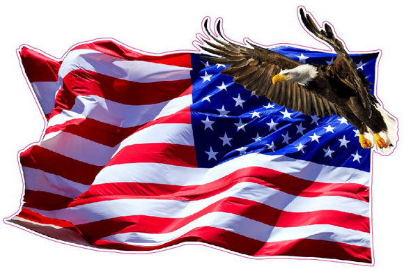 American Flag Soaring Eagle Version 2 LEFT Facing Decal