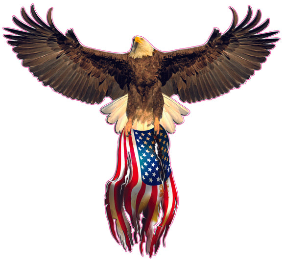 America Strong American Flag Bald Eagle decal