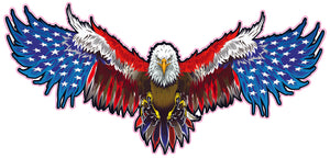 Attack Bald Eagle American Flag Decal