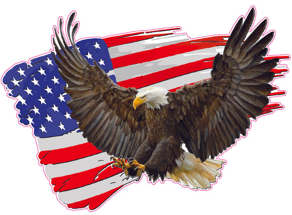 Brushed American Flag Soaring Eagle Decal
