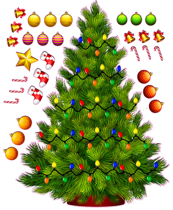 Build a Christmas Tree with Lights Wall Decor Decal