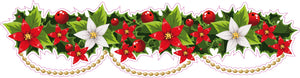 "Christmas Poinsettia Border Wall Decor Decal Pair - 36"" x 9"" 