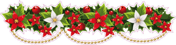 Christmas Poinsettia Border Wall Decor Decal Pair - 36