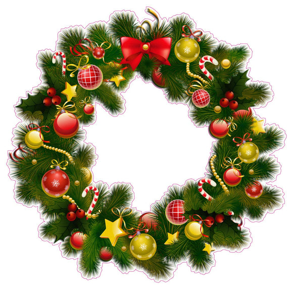 Christmas Wreath Version 2 Wall Decor Decal - 24