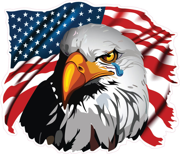 Crying Eagle American Flag Decal
