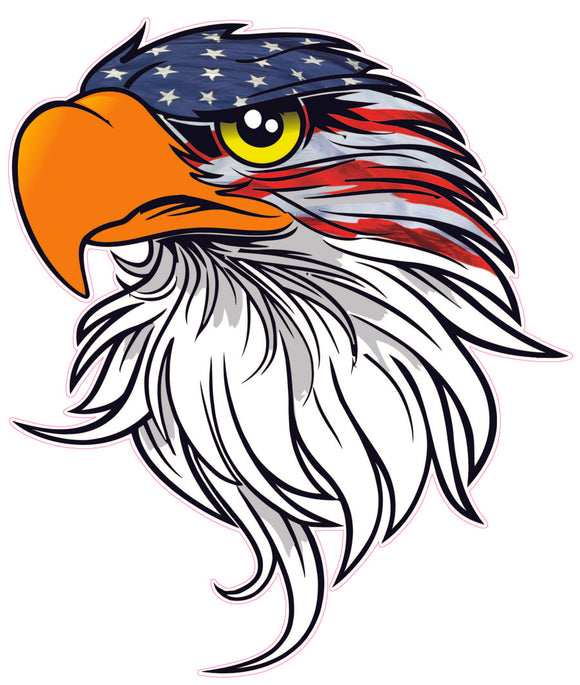 Eagle head American flag v4 Decal